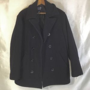 Gap Thick Unisex Black Pea Coat Size Small